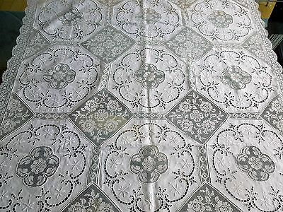 Italian Lace Tablecloth Hand Embroidery Cutwork Drawnwork Floral Filet Reticella