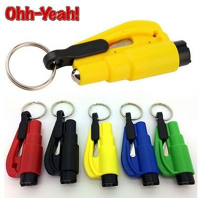 Survival Emergency Car Window Breaker Hammer Key Chain Seat Belt Cutter Tool