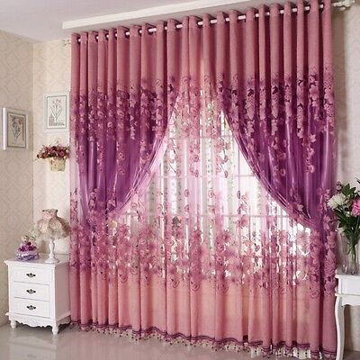 USA Voile Window Curtain Floral Blackout Tulle Curtain Living Room Drape Panel