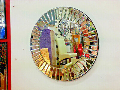 Art Deco Round Wall Mirror Sunburst Bevelled Silver Glass 60cm Small Bathroom