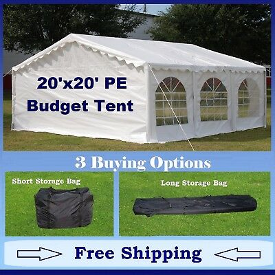 Budget PE Party Canopy - 3 Options - 20'x20' Tent, Short Bag, and Long Bag