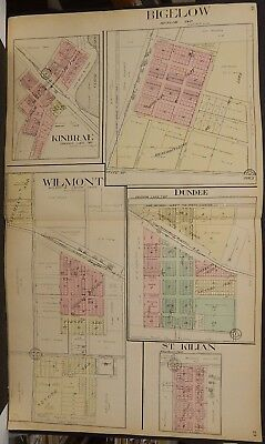 Minnesota Nobles County Map Bigelow Kinbrae Wilmont 1914 Double Page L15#29
