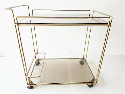 Max Sauze : Table Roulante Serving Pedestal Bar Metal Golden Glass 1970 Vintage