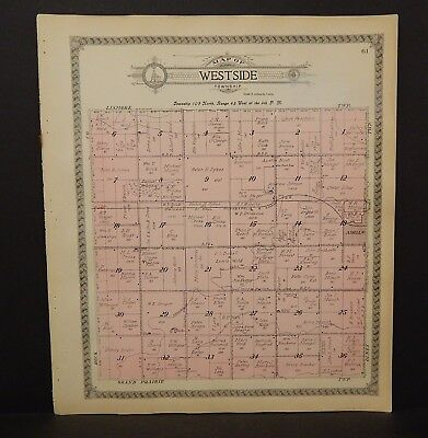 Minnesota Nobles County Map Westside Township 1914  L15#38