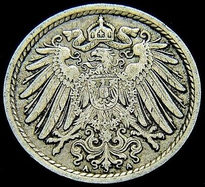 Germany 1913 - A 5 Pfennig German Empire Coin 104 Years Of History (Rl1820)