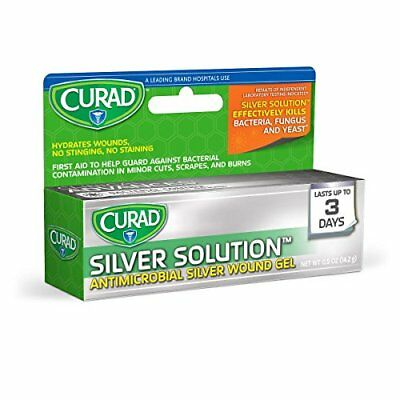2 Pack Curad Silver Solution Antimicrobial Wound Gel, No Sting 0.5 Oz Each