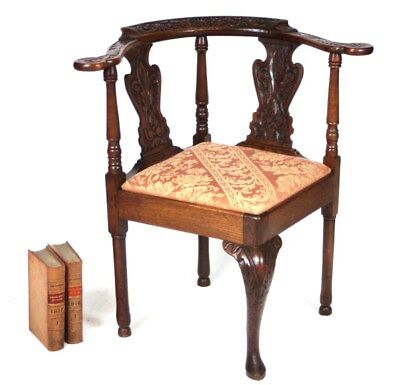 Antique Carved Oak Corner Chairs - FREE Shipping [PL4038]