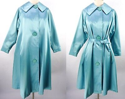 Vintage 60s Blue Satin Swing Tent Trapeze Coat XL NOS Deadstock Belted Princess