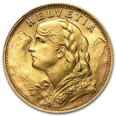 Swiss Gold 20 Francs Helvetia Coin AU (Random Year) - SKU #151896