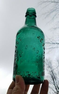 Crude Antique Saratoga New York NY Congress & Empire Springs Water Bottle TEAL!