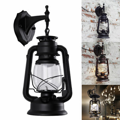 Vintage Rustic Lantern Lamp Industrial Retro Metal Wall Mount Sconce Light E27