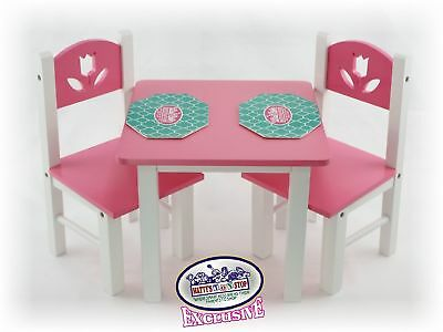 18 Inch Doll Furniture Pink White Wooden Table And Chairs Set W Placemats