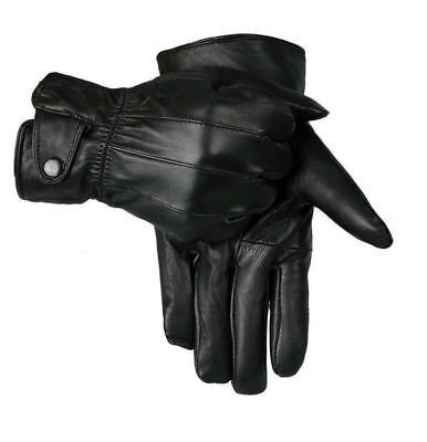 Mens Touch Screen 100% Leather Gloves Thermal Lined Black Driving Winter