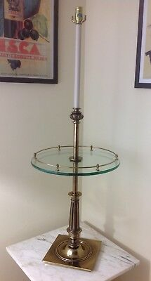 Stiffel Hollywood Regency Brass Candlestick Floor Lamp With Glass Table