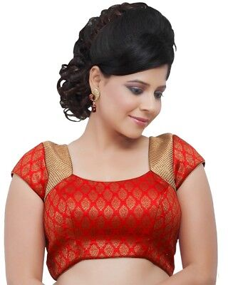Red Brocade Ready-made Partywear Indian Wedding Saree Blouse Choli - R-5 - R-05-