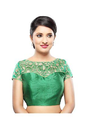 Saris and Things Green Net Back Open Ready-made Saree Blouse Choli - snt_x-356_g