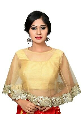 Gold Dupion Silk Cape Style Indian Blouse - X-417-FS-GOLD-P