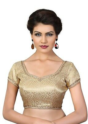 Saris and Things Antic-Gold Brocade Fancy Back Open Saree Blouse Choli - snt_x-3
