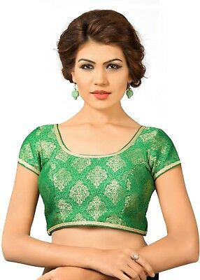 Saris and Things Green Brocade Fancy Back Open Saree Blouse Choli - snt_x-358_gr