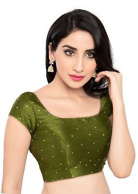 Charismatic Mehendi Colored Ethnic Ready-Made Saree Blouse - X-202SL - X-202-SL-
