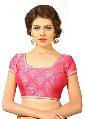 Saris and Things Pink Brocade Fancy Back Open Saree Blouse Choli - snt_x-358_pin