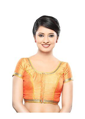 Saris and Things Orange Dupion Silk Front Open Ready-made Saree Blouse Choli - s