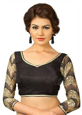 Saris and Things Black Dupion Silk Fancy Back Open Saree Blouse Choli - snt_x-39