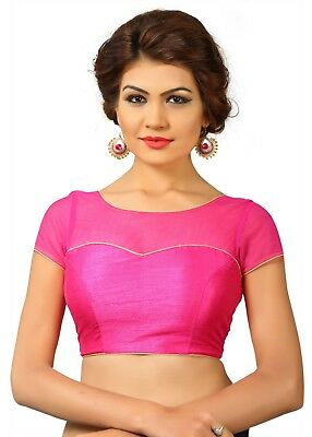 Saris and Things Pink Net Fancy Back Open Saree Blouse Choli - snt_x-373_pink