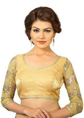 Saris and Things Gold Dupion Silk Fancy Back Open Saree Blouse Choli - snt_x-392