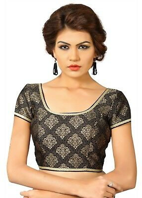 Saris and Things Black Brocade Fancy Back Open Saree Blouse Choli - snt_x-358_bl