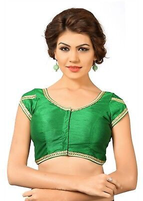 Saris and Things Green Dupion Silk Fancy Front Open Saree Blouse Choli - snt_x-3