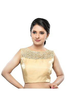 Saris and Things Gold Fancy Back Open Ready-made Saree Blouse Choli - snt_x-368n