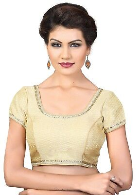 Saris and Things Gold Brocade Fancy Back Open Saree Blouse Choli - snt_x-379sl_g