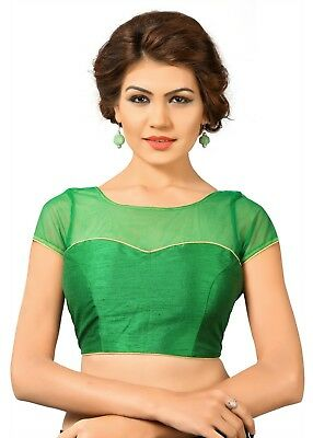 Saris and Things Green Net Fancy Back Open Saree Blouse Choli - snt_x-373_green_
