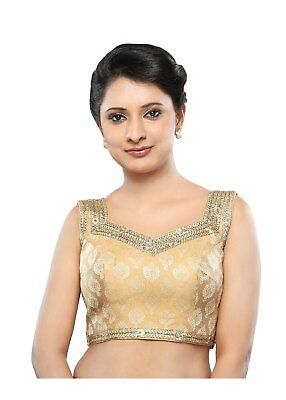 Saris and Things Gold Brocade Back Open Ready-made Saree Blouse Choli - snt_x-32