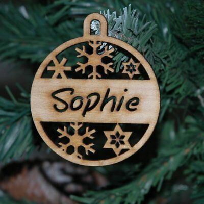 Wooden Personalised Christmas Baubles 6 designs Xmas Decoration with Custom Name