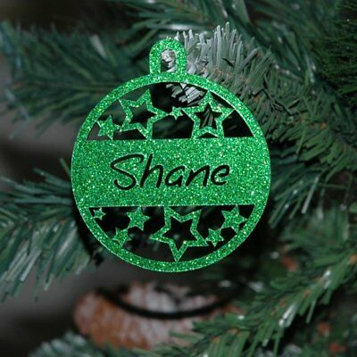 Personalised Christmas Baubles 6 designs, Glitter Christmas Decoration with Name