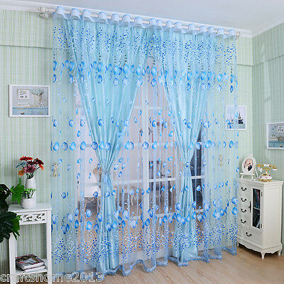 Blue Voile Window Curtain Floral Blackout Tulle Curtain Living Room Drape Panel