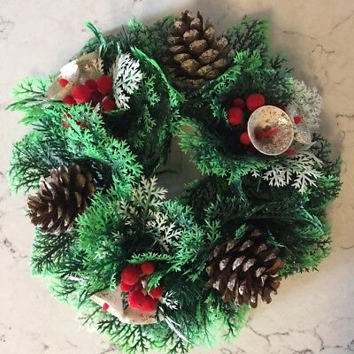 VTG Christmas Wreath Centrepiece Faux Greenery Pine Cones Berries Glitter Bells