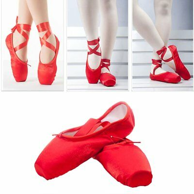 Red Gilrs Ballet Dance Toe shoes Professional Ladies Satin Pointe Shoes Silk OW