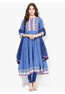 Printed blue suit with matching dupatta and churidar