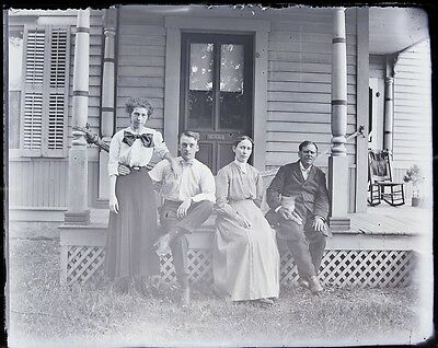 Antique 4x5 Glass Plate Negative Group of 4 on a Porch (V3822)