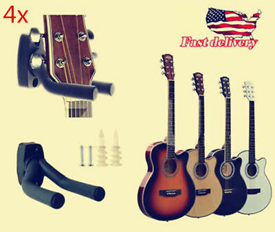 Great 4x Guitar Hanger Wall Mount Holder Stand Hook Acoustic Electric Bass Banjo