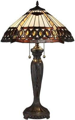 Brown Amber Stained Glass Tiffany Style Table Lamp Elegant Office Desk Bronze