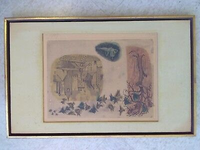 """The Village Print Painting,24/50,26.5""""x17"""",OK Condition"""