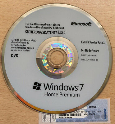 Microsoft Windows 7 Home Premium 64 bit Lizenz + Medien Vollversion Key Code