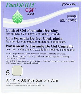 Thick DUODERM CGF 4x4 Box 5 Dressings Dressing Wound Wounds Burns Adhesive New
