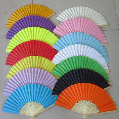 Potable Chinese Plain Hand Held Fabric Folding Fan Summer Pocket Fan Wedding New