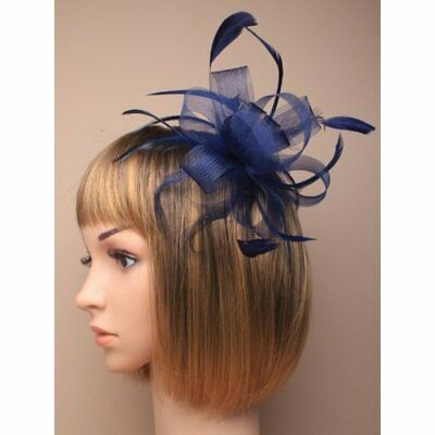 Navy Blue Hair Flower Fascinator Net and Feather Headpieces on a Comb Weddings