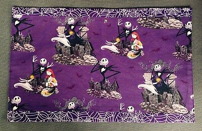 Nightmare Before Christmas Fabric Bedside/Table Mats X2 Reversible Purple Cobweb